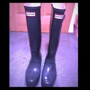 Hunter gray women's tall rain boots